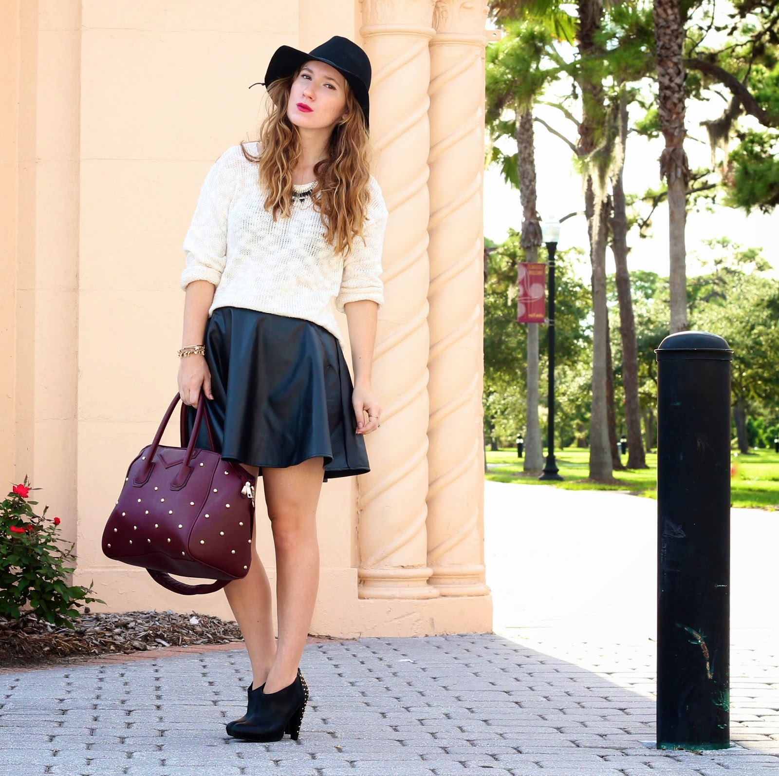 leather skater skirt