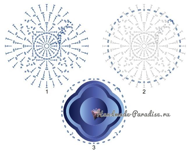 Белая салфетка крючком с голубыми цветами (6)