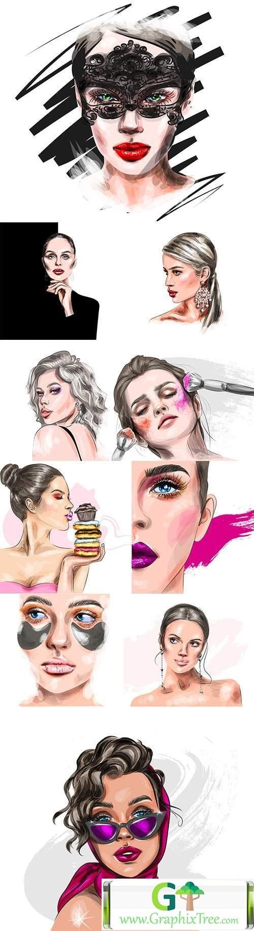 Beautiful girl with beautiful makeup vector illustration