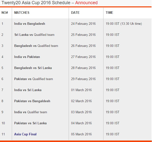 2016 Cricket T20 Asia Cup Schedule, Asia Cup T20 Date Time
