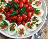 Deviled Eggs with Tomato & Herb Relish