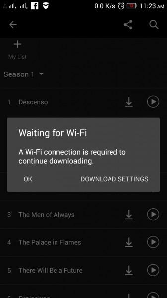 التحميل بإستخدام الواي فاي Netflix