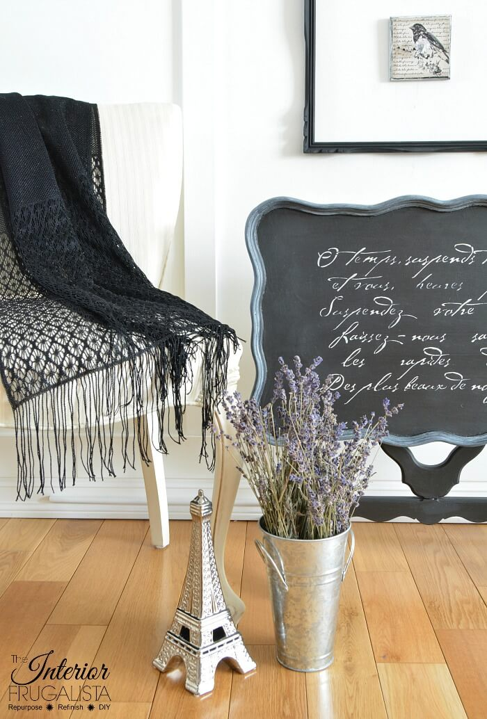 Black Chalk Painted Flip Top Table