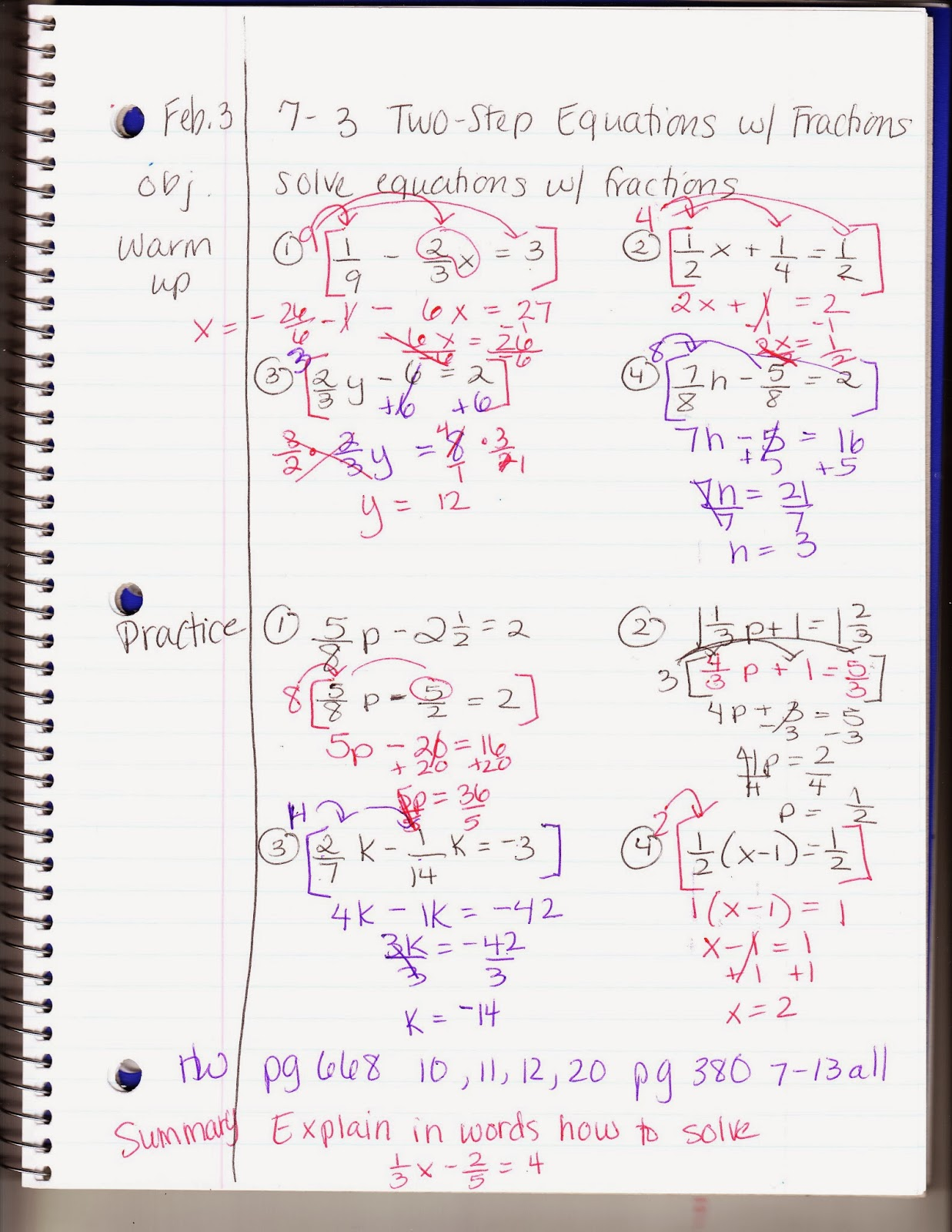 Ms Jean S Classroom Blog 7 3 Solving Two Step Equations