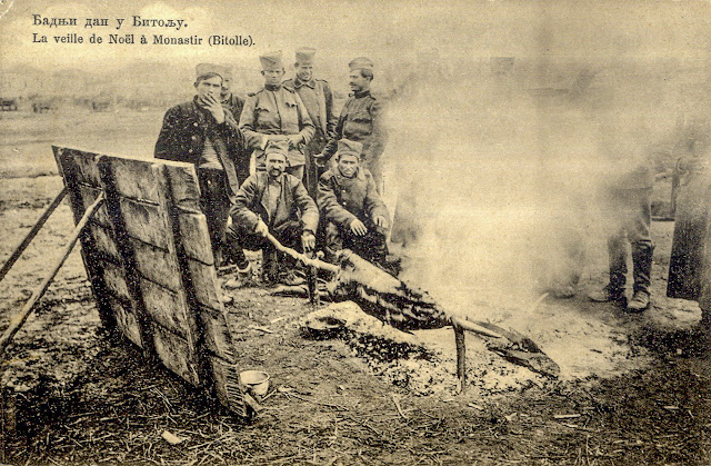 Serbian soldiers during Christmas Eve (January 6th 1913) in Bitola - First Balkan War