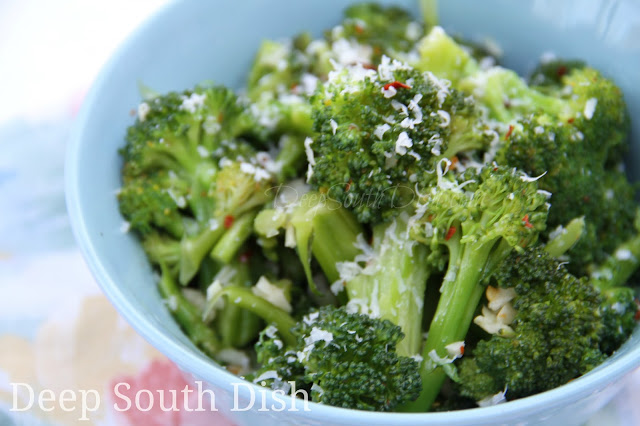 Broccoli, lightly steamed in water and olive oil with garlic and red pepper flakes. Toss with a bit of cooked penne or rigatoni for a nice light meal and finish with a sprinkle with freshly grated Parmigiano-Reggiano cheese.