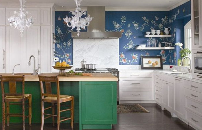 çiçek desenli mutfak duvar kağıdı modelleri