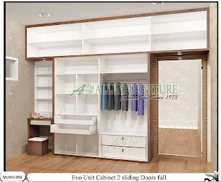 Lemari pakaian minimalis full sliding plafon unit cabinet Evo