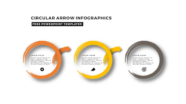Circular Brush Stroke and Arrow Infographic Free PowerPoint Template Slide 3
