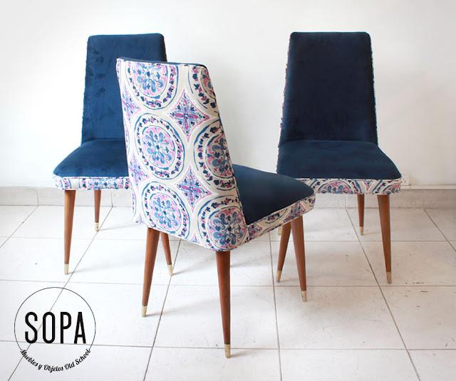 Sopa muebles y objetos old school sillas americanas olive for Sillas de comedor tapizadas en gris