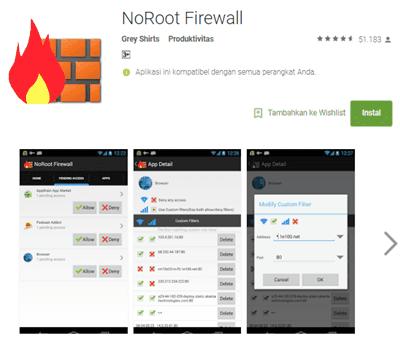 menghilangkan iklan dengan noroot firewall pada android