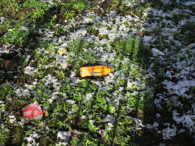 Lucozade bottle abandoned on icy, snowy, grass.
