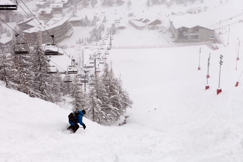 Deep powder skiing down to Val d'Isere, France