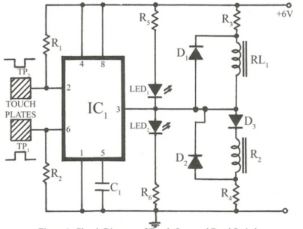 circuit schematic touch operated band switch for radio set