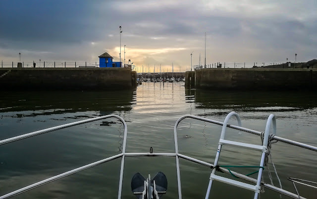Photo of Ravensdale in Maryport Basin about to enter the gate to the marina