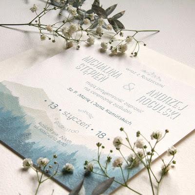 Zaproszenia ślubna z motywem gór od Zaproszenia na kartki.