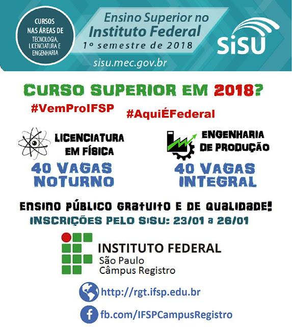 IFSP - Câmpus Registro-SP oferece 80 vagas para cursos superiores gratuitos