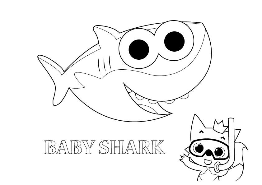 gambar mewarna baby shark   gambar mewarna colouring picture