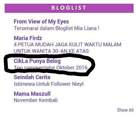 Menang segmen 12 jam bloglist #23 by Mialiana.