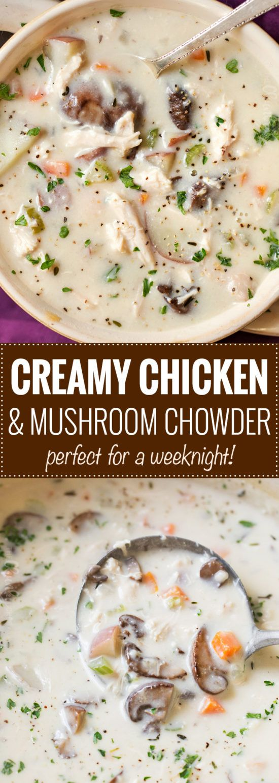 CREAMY CHICKEN AND MUSHROOM CHOWDER RECIPES