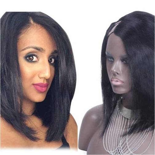 #1B Straight Remy Hair U part Wigs