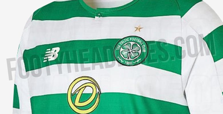 4fc1c6644 The front of the new Celtic 2018-19 shirt comes with the dafabet logo,  while on the back is the logo of Magners. White shorts and green ...