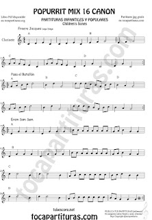 Partitura de Clarinete Popurrí Mix 16 Partituras de Freere Jacques, Pasa el Batallón, Eram Sam Sam Sheet Music for Clarinet Music Score