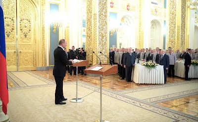 Russian President at a reception in honor of graduates of military academies.