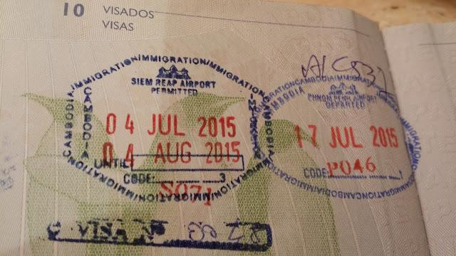 Sellos de entrada y salida de Camboya