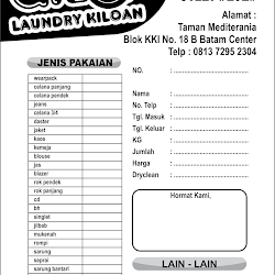 Contoh Nota Laundry Nova Grafis