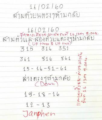 เลขเด่นบน  315  316  351  361  816  861 15  16  51  61 เลขเด่นล่าง  19  18  16  12  13