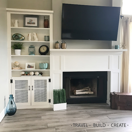 DIY Fireplace Surround and Built in Bookshelves