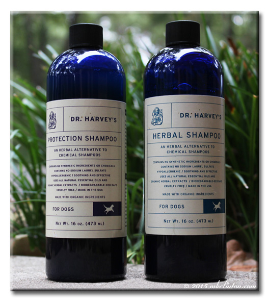 Two Dr. Harvey's Herbal shampoo bottles