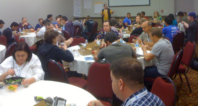 About half the attendees sat in the big room for box lunches