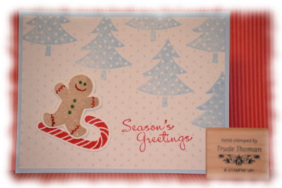 http://stampwithtrude.blogspot.com Stampin' Up! Christmas card by Trude Thoman Scentsational Season stamp set Snowboard Gingie