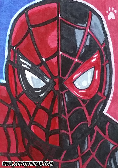 "Peter Parker and Miles Morales as Spider-Man, 2.5"" X 3.5"", Micron pen and Copic Marker on Bristol Board sketch card. Art by Coyote Duran"