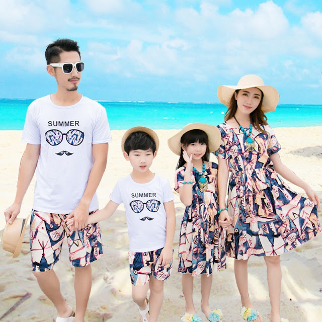 Family Design Beach Dress w Top&Shorts