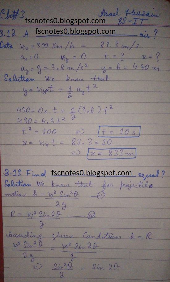 F.Sc ICS Notes: Physics XI: Chapter 3 Motion and Force Numerical Problems Asad Hussain 8