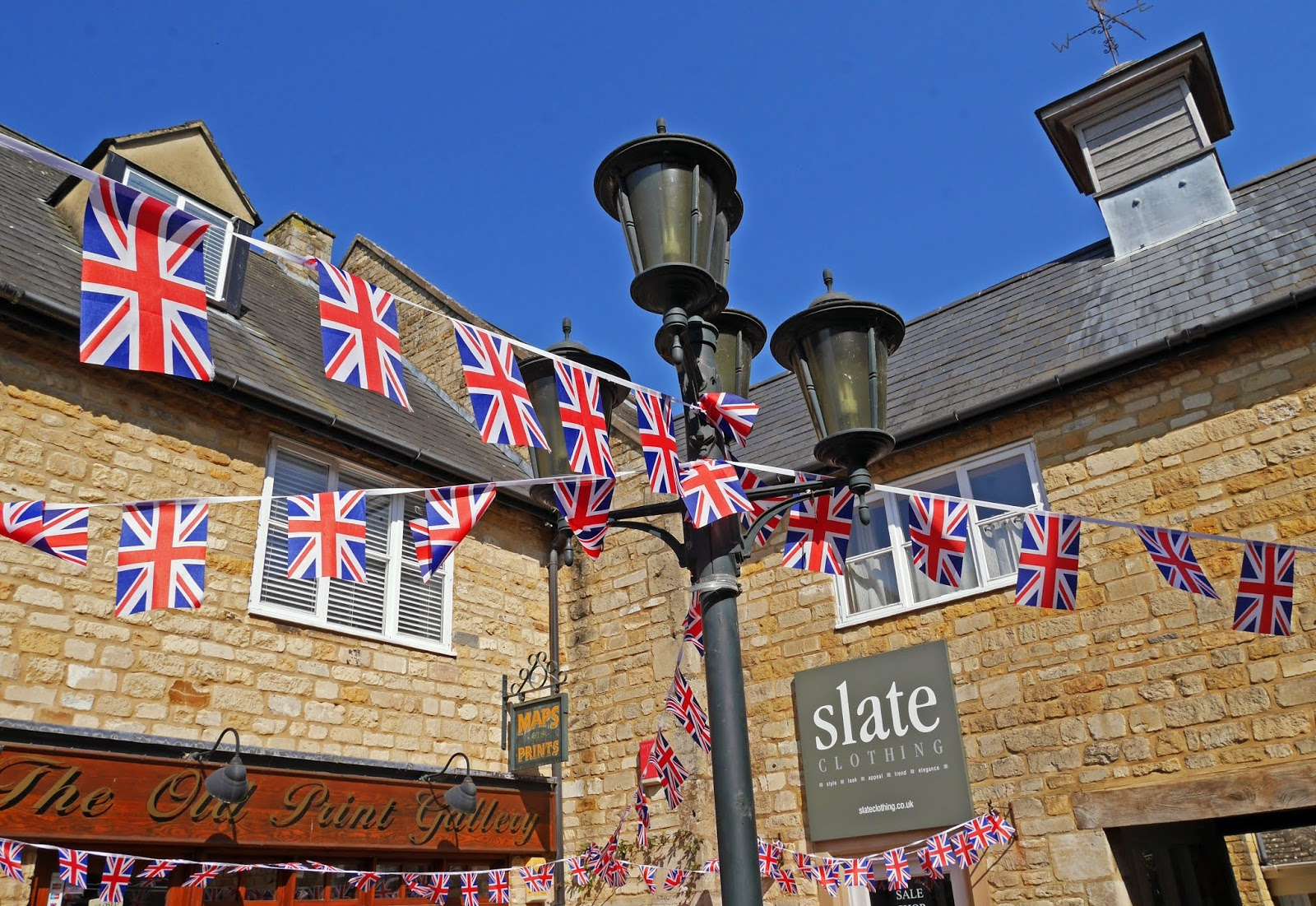 Union Jack bunting in The Cotswolds