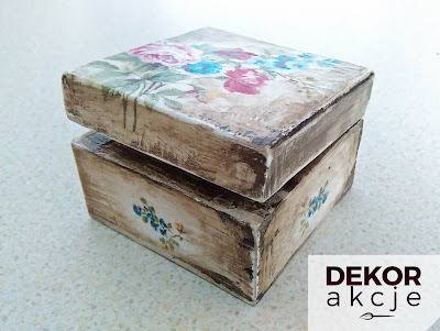 pudełko patyna decoupage