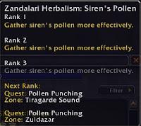 Siren's pollen ranks
