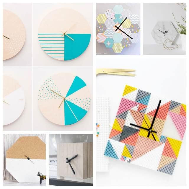 10 relojes con forma geométrica DIY
