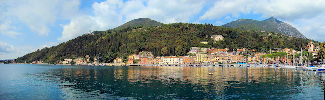 Panoramic view of Toscolano-Maderno at Lake Garda, Italy.