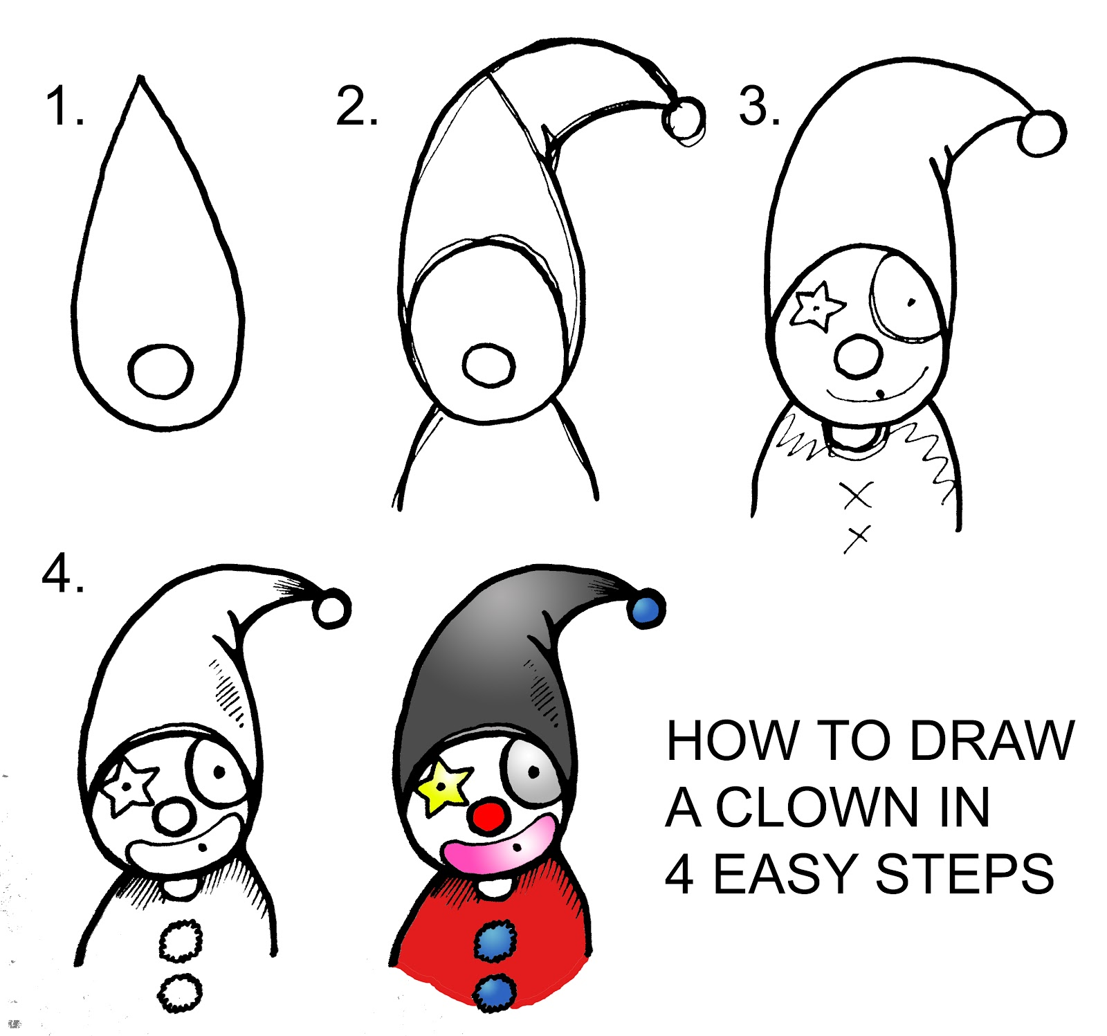 Daryl Hobson Artwork How To Draw A Clown Step By Step