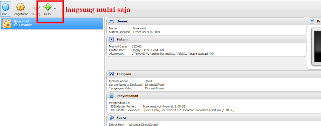 Tutorial Instal Linux Mint beserta Settingan Di Virtual Mechine (Virtual Box)
