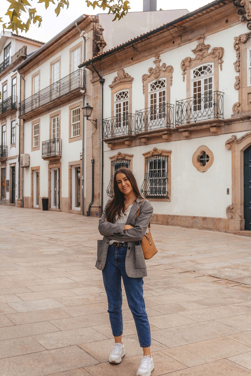 outfit with check blazer mom jeans chunky sneakers