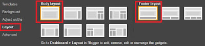 Set the basic template layout in Blogger