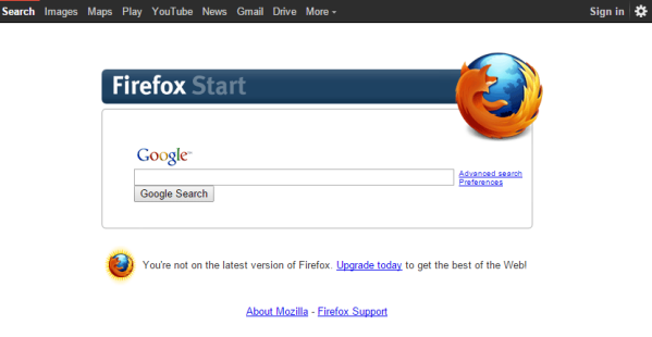 Google Removes Old Firefox Start Page