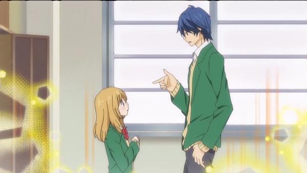 Hiyokoi - Anime romance perempuan pendek lelaki tinggi