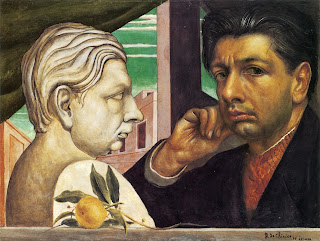 Giorgio de Chirico painted this self-portrait, confronting a bust of himself, in 1922